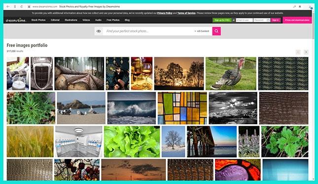 Сайт бесплатных фотостоков Dreamstime