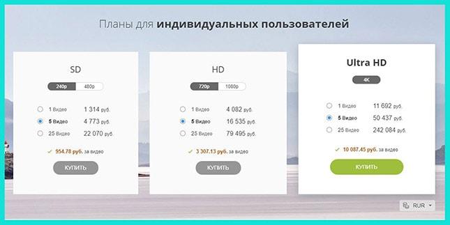 Тарифы по видео на Depositphotos