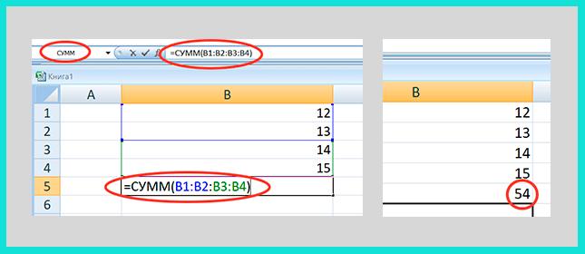 Как составить функцию СУММ в Exel