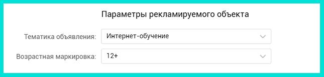 Указываем тему и возраст ЦА во ВКонтакте