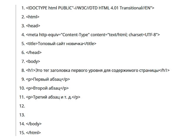 Базовый код для сайта