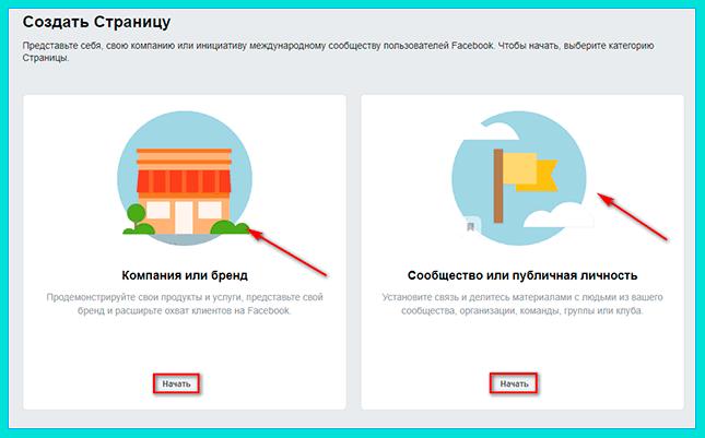 Настраиваем рекламу в Инстграм через Фейсбук: выбираем личную или бизнес-страницу и нажимаем кнопку Начать