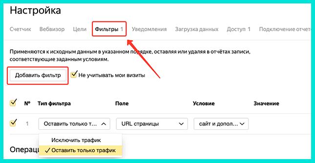 Фильтры - что это такое и как работает в Яндекс Метрике