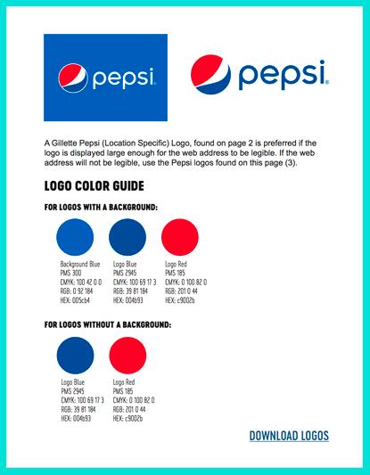 Пепси: фирменная цветовая палитра