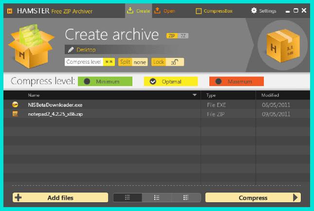 Hamster Free ZIP Archiver для работы с архивами