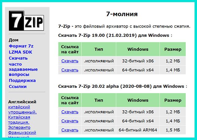 Программа для разархивирования файла на компьютере - 7-Zip