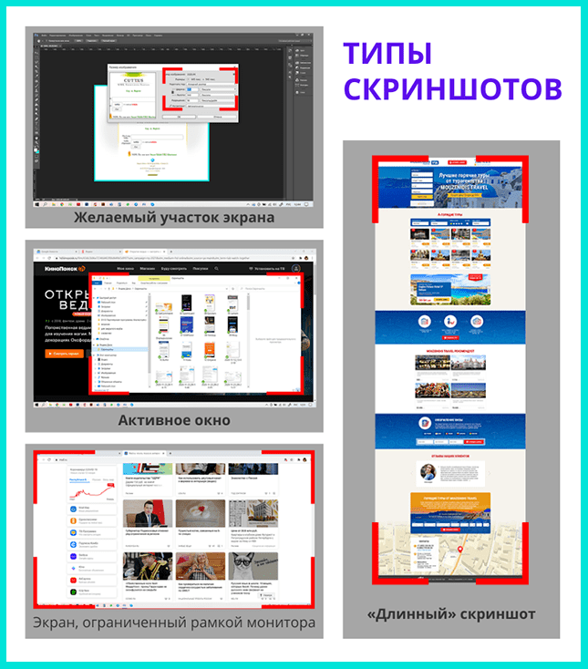 4 типа скриншотов