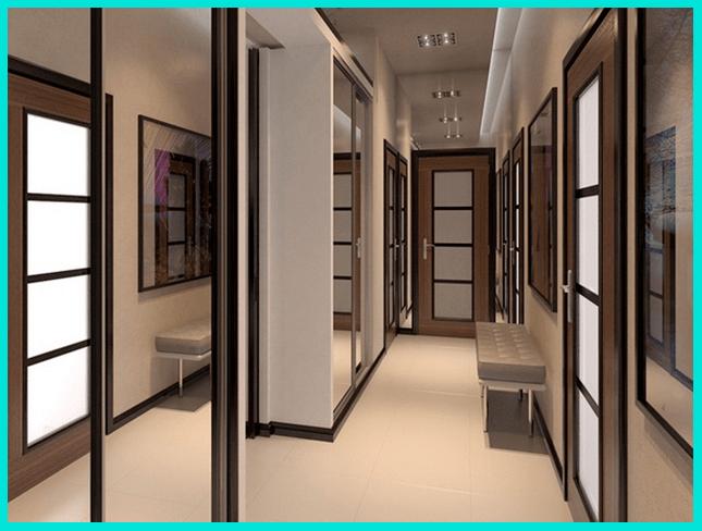 Дизайн интерьера прихожей решен с помощью монохромной гармонии