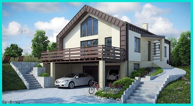 Проект дома на склоне горы
